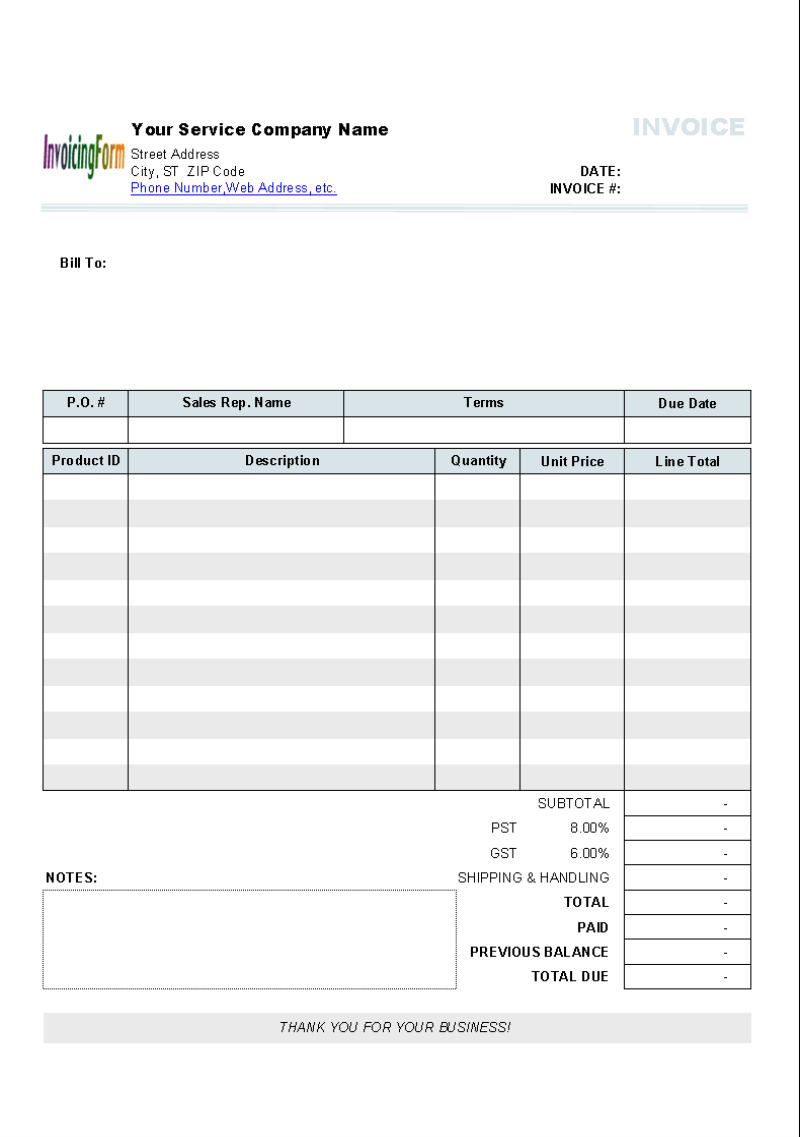 Shipping Invoice Template  sales excel project management