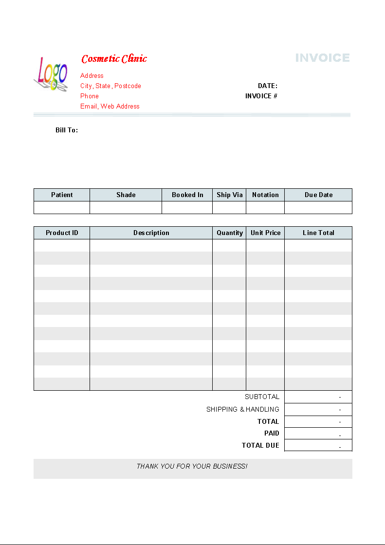 Free Medical Invoice Template catering invoice excel template – Hospital Invoice Template