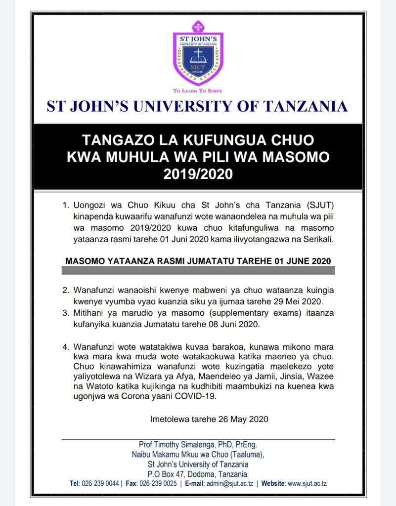 St John's University of Tanzania Notice To All Students, May 2020