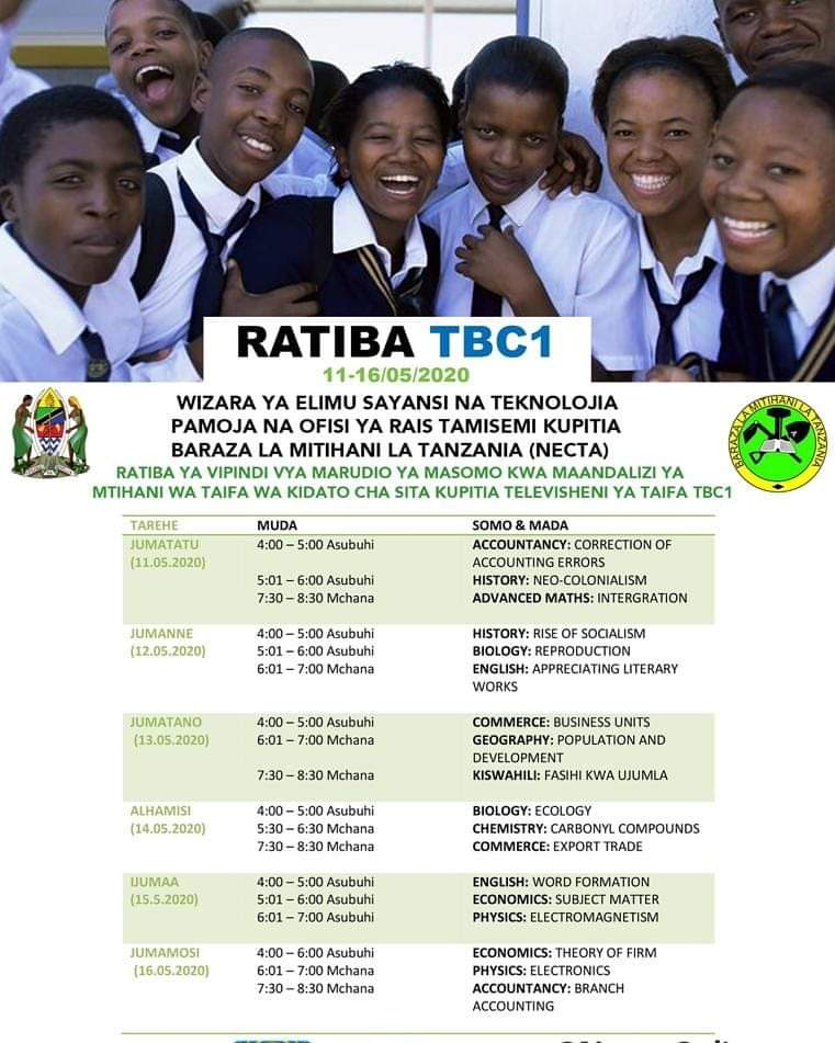 NECTA New Form Six Period Timetable For National Examinations Preparation 2020