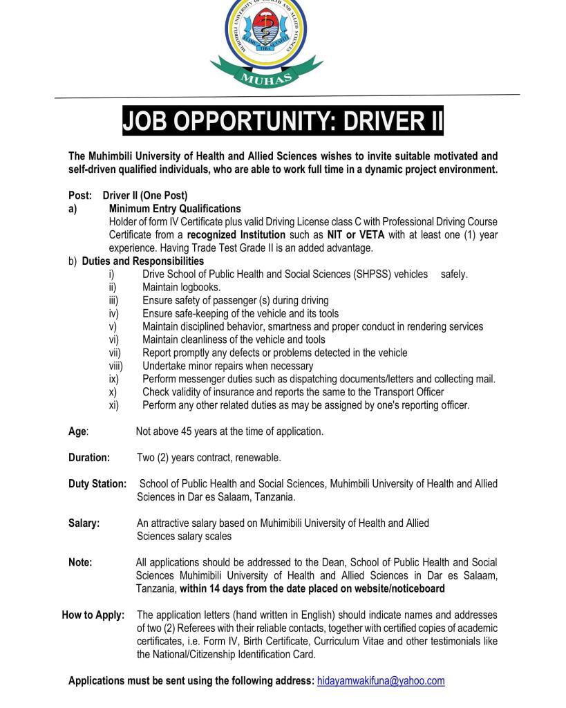 DRIVER Job Vacancy At MUHAS, June 2020