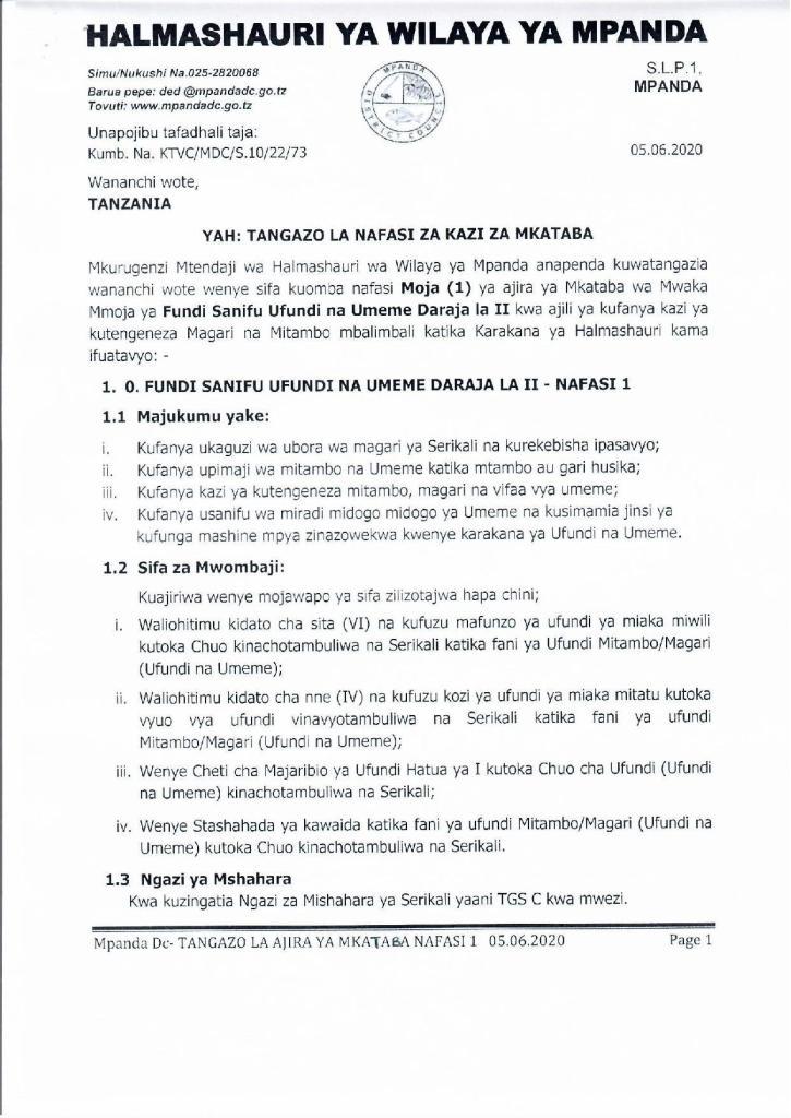Mpanda District Council Jobs, June 2020