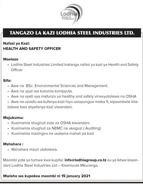 New Job Vacancies at Lodhia Steel Industries Limited