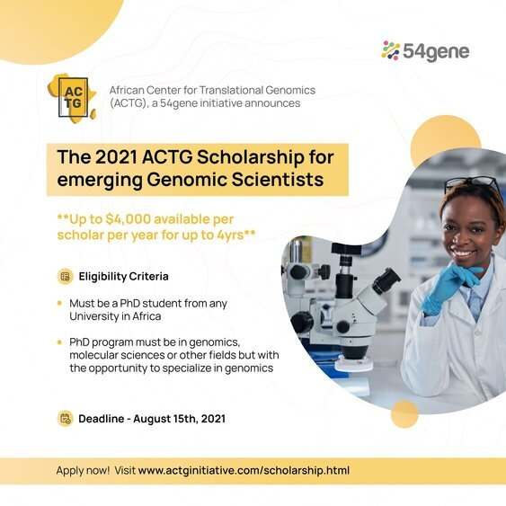 Academic Scholarship for emerging genomic scientists at African Center for Translational Genomics (ACTG) 2021