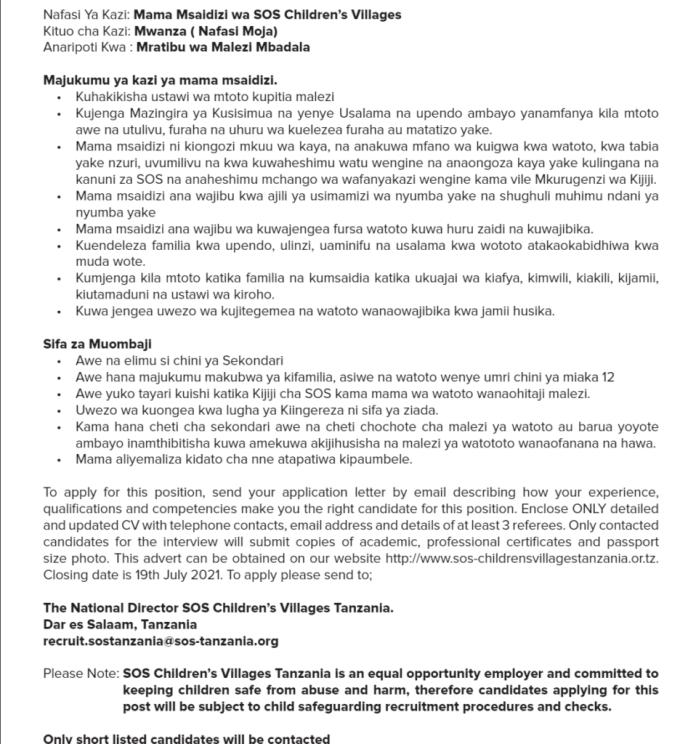 Job Opportunity At SOS Children's Villages Tanzania, 2021