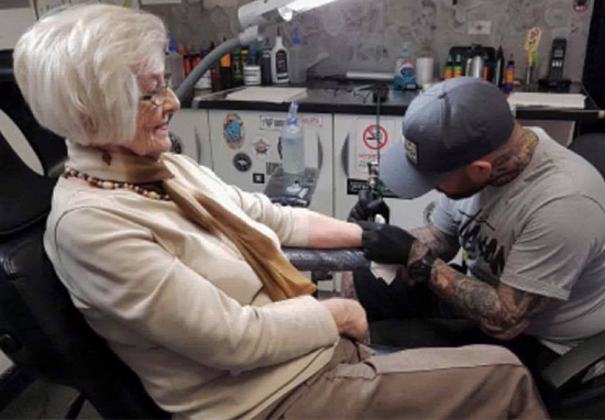 82 Year Old Woman Gets First Tattoo In Memory Of Late Husband derick tatt web