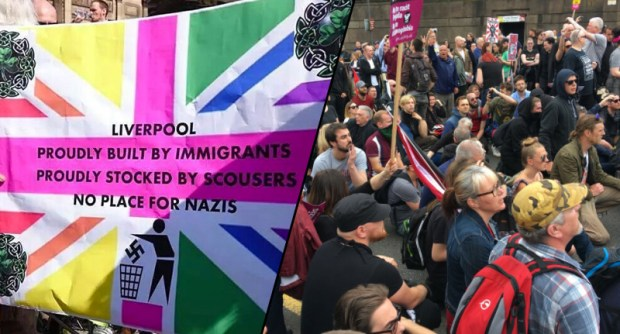 Protesters Disrupt EDL March In The Most Brilliantly British Ways EDL1 face