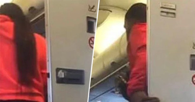 Couple Caught 'Joining Mile High Club' After Spending 10 Minutes In Toilet