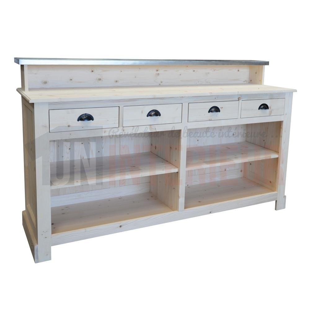 meuble bar caisse ou passe plat 4 tiroirs en pin massif 180cm glasgow