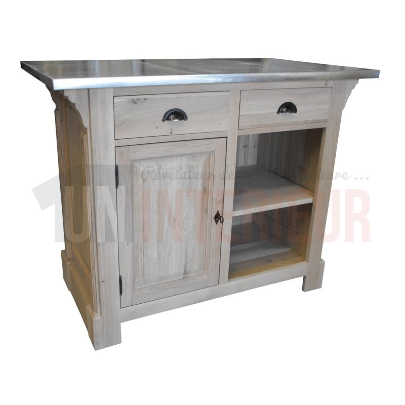 meuble comptoir zinc en chene massif 140cm 95cm de haut chester