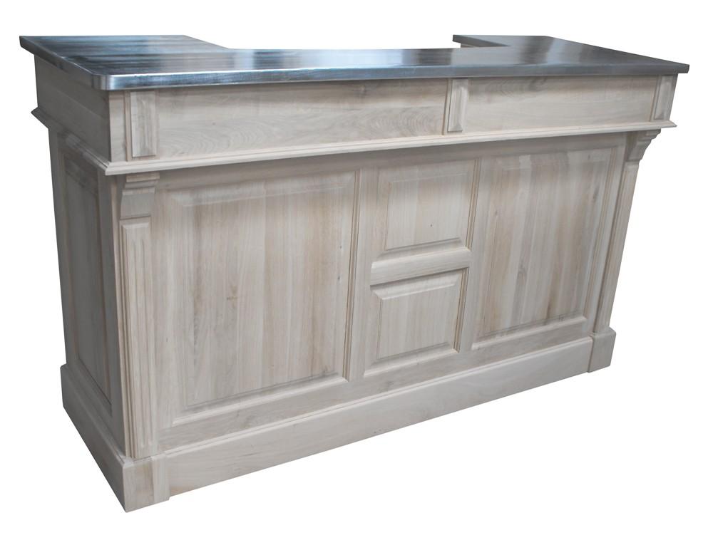 meuble bar zinc en chene massif 180cm chester