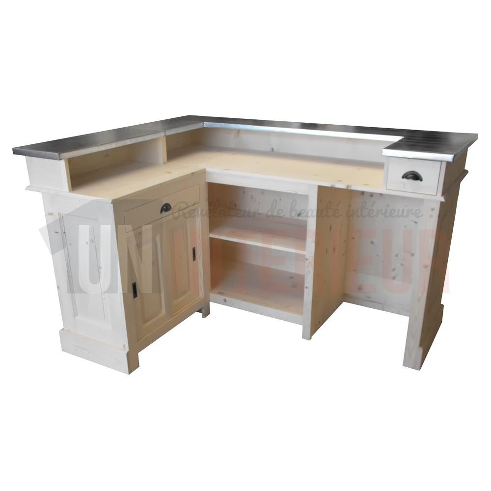 comptoir de bar d angle en pin massif 180cm x 140cm avec espace frigo retour a gauche chester