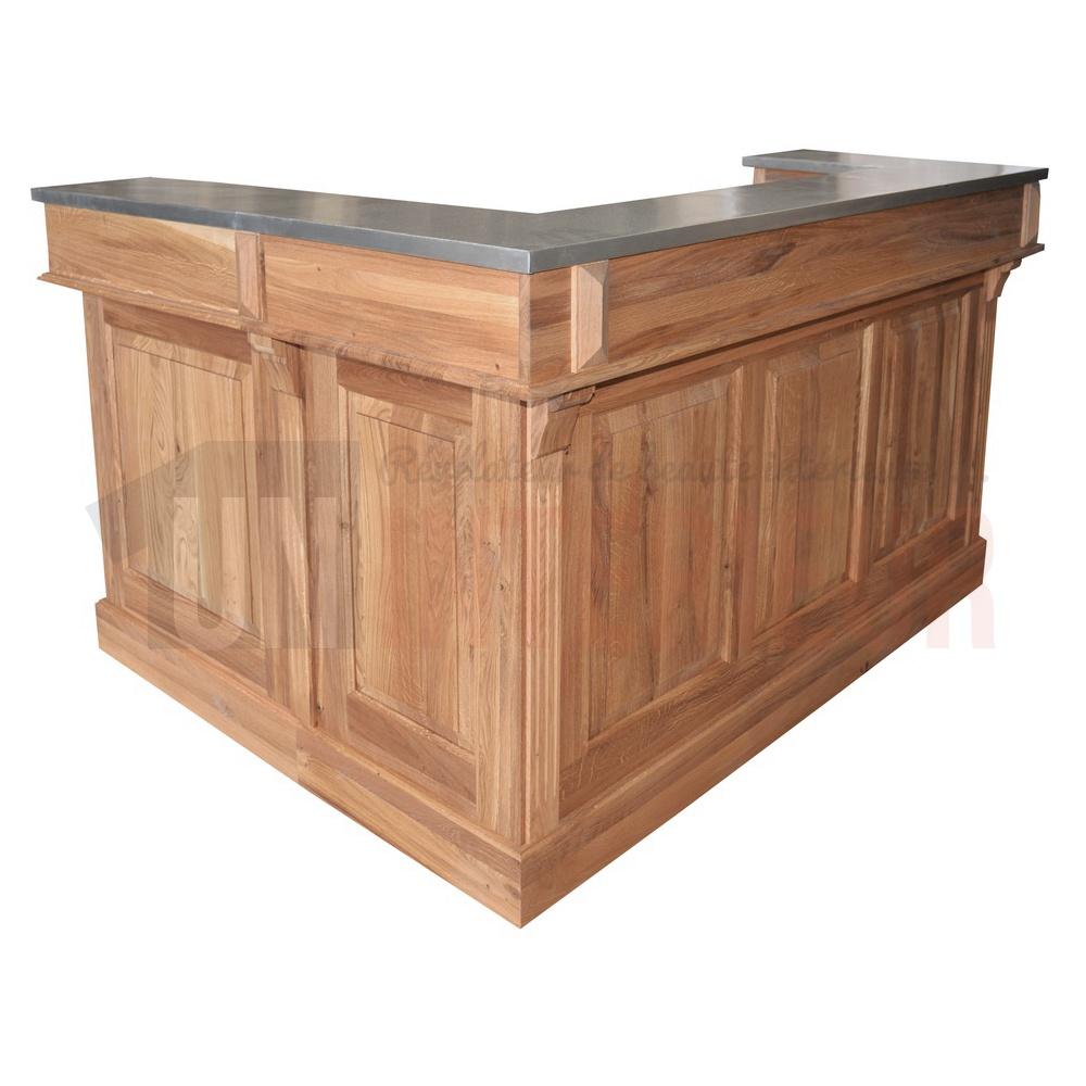 bar d angle 180cm x 140cm avec espace frigo en chene massif retour a droite chester