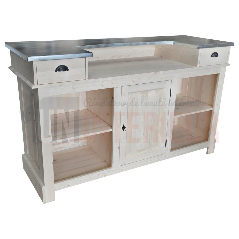 comptoir de bar ou meuble bar en pin massif 180cm chester