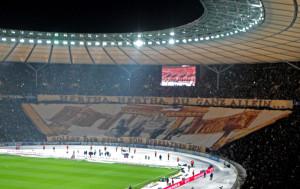 Hertha banner at the derby