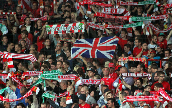 It's all the same, right? Home fans display Union Jack.