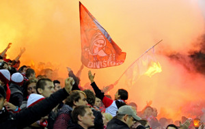 Slavia Praha fans with flares