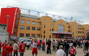 New main stand, clad in the clinker brick style of local industrial architecture