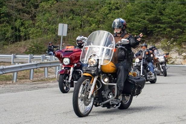 Riders coming into Veterans Overlook