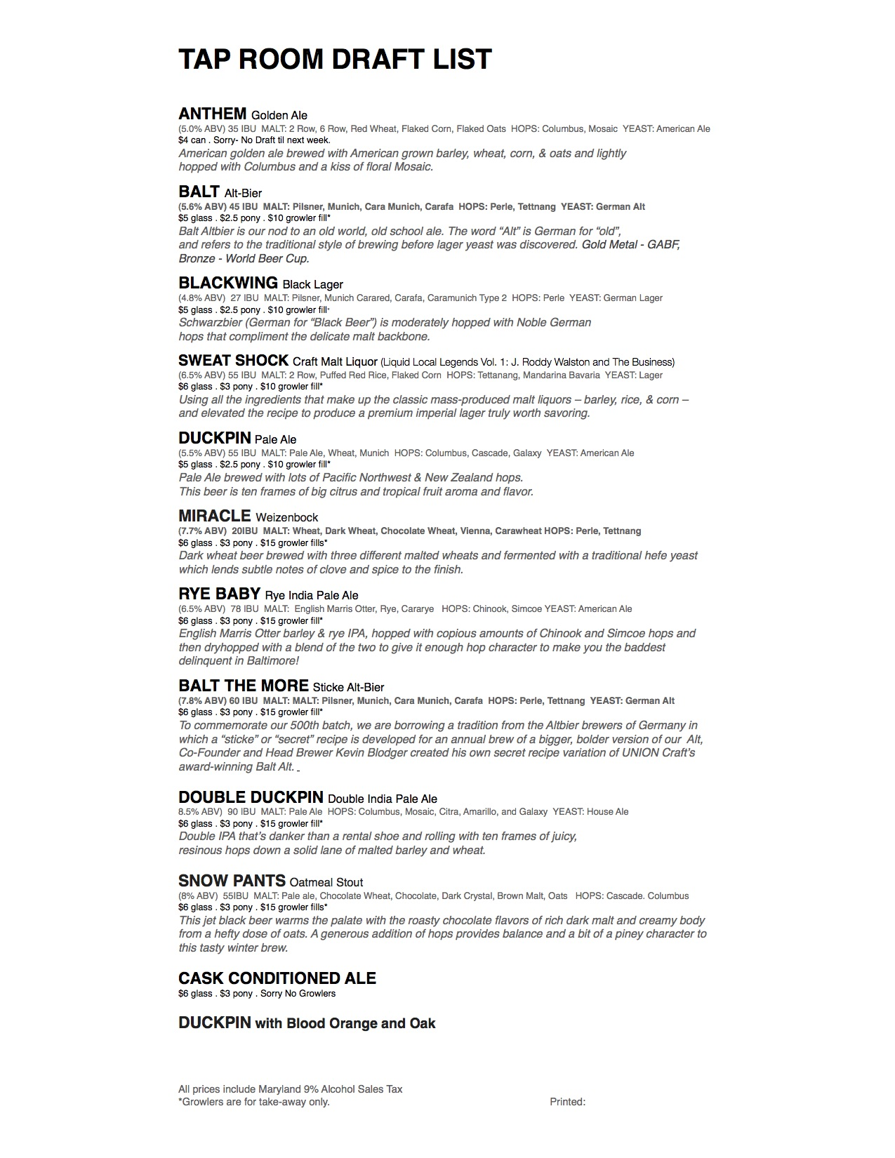 Union Craft Brewing Draft List 3_4 - Union Craft Brewing