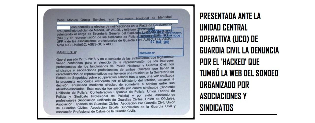 Denuncia presentada en la UCO sobre el ataque la la web de la votación