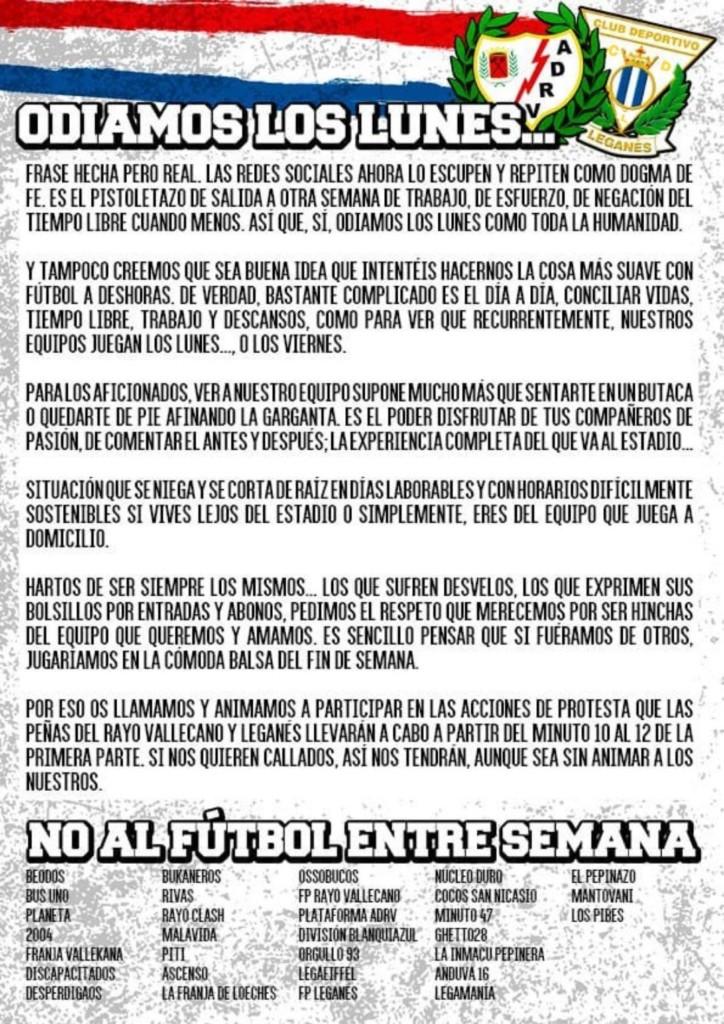 La afición del Rayo Vallecano protestará por los horarios ante el Leganés