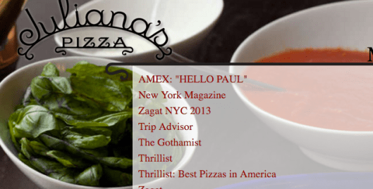 best pizzeria websites - juliana's
