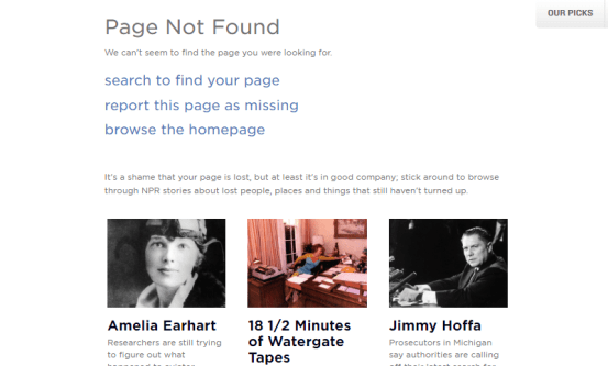 NPR funny 404 pages