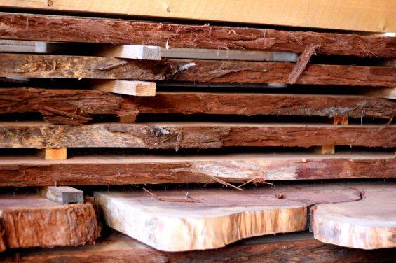Stack of Redwood Slabs
