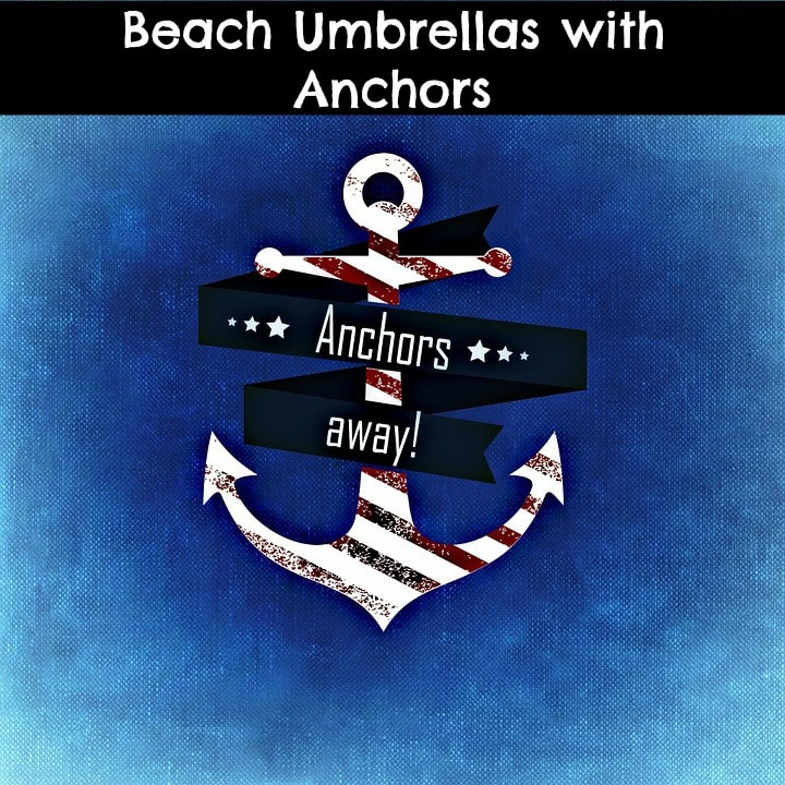 beach umbrella with anchors