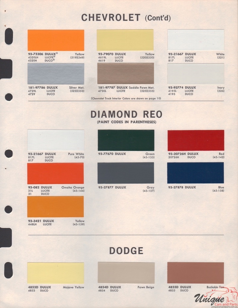 Dupont Color Code Cross Reference 1964 Chevy Truck Paint Colors Diamond T Trucks Chart