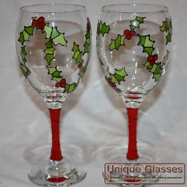 Christmas Holly Glass Unique Glasses