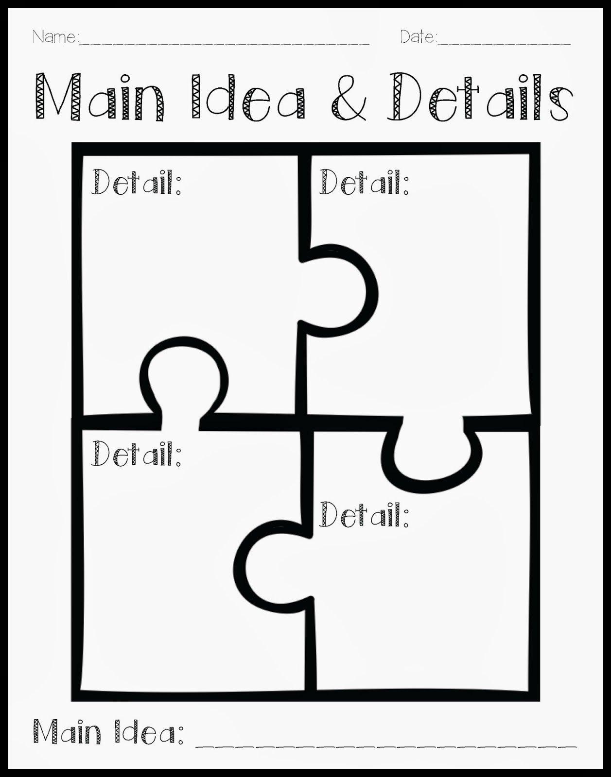Main Idea Worksheet For 1st Grade