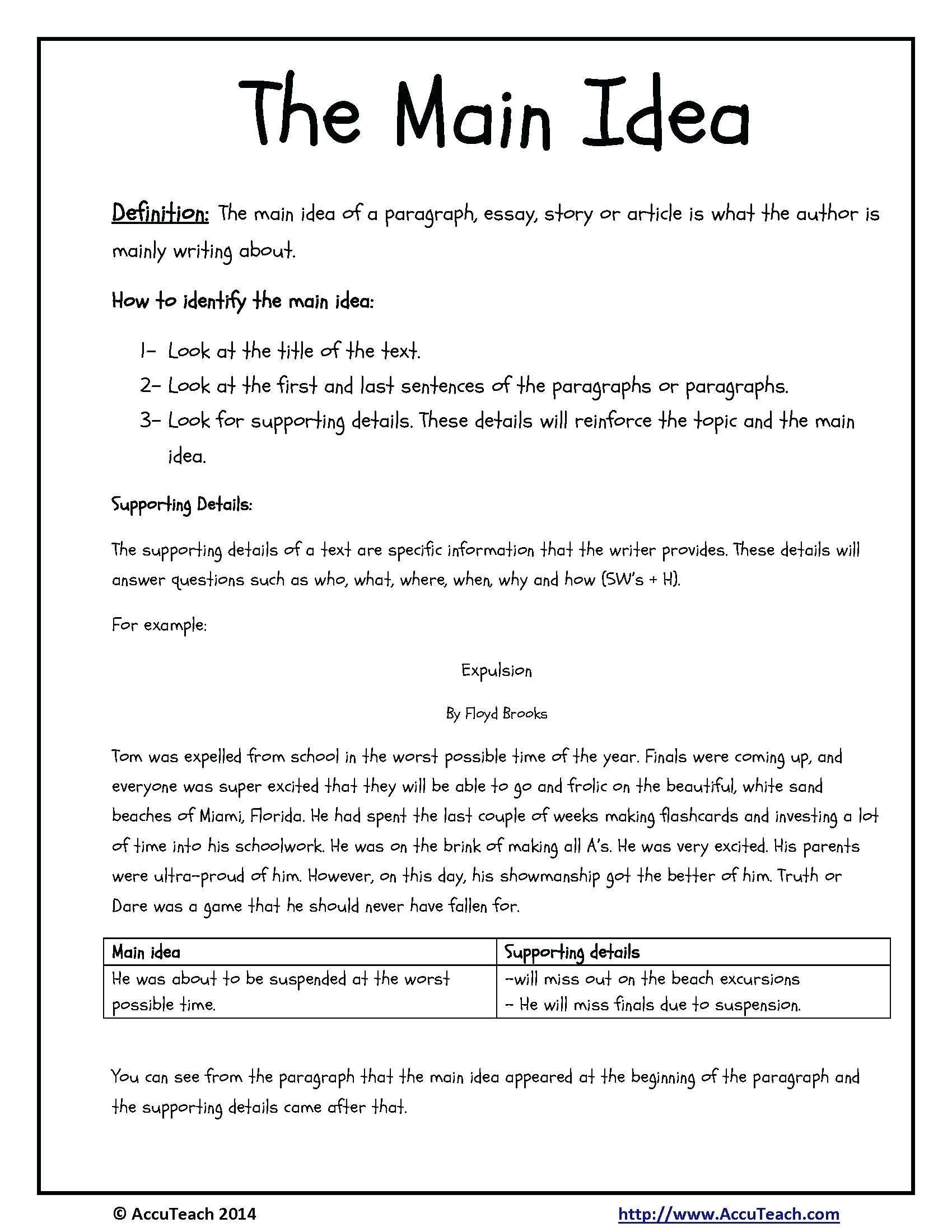 10 Cute Main Idea Worksheets Third Grade