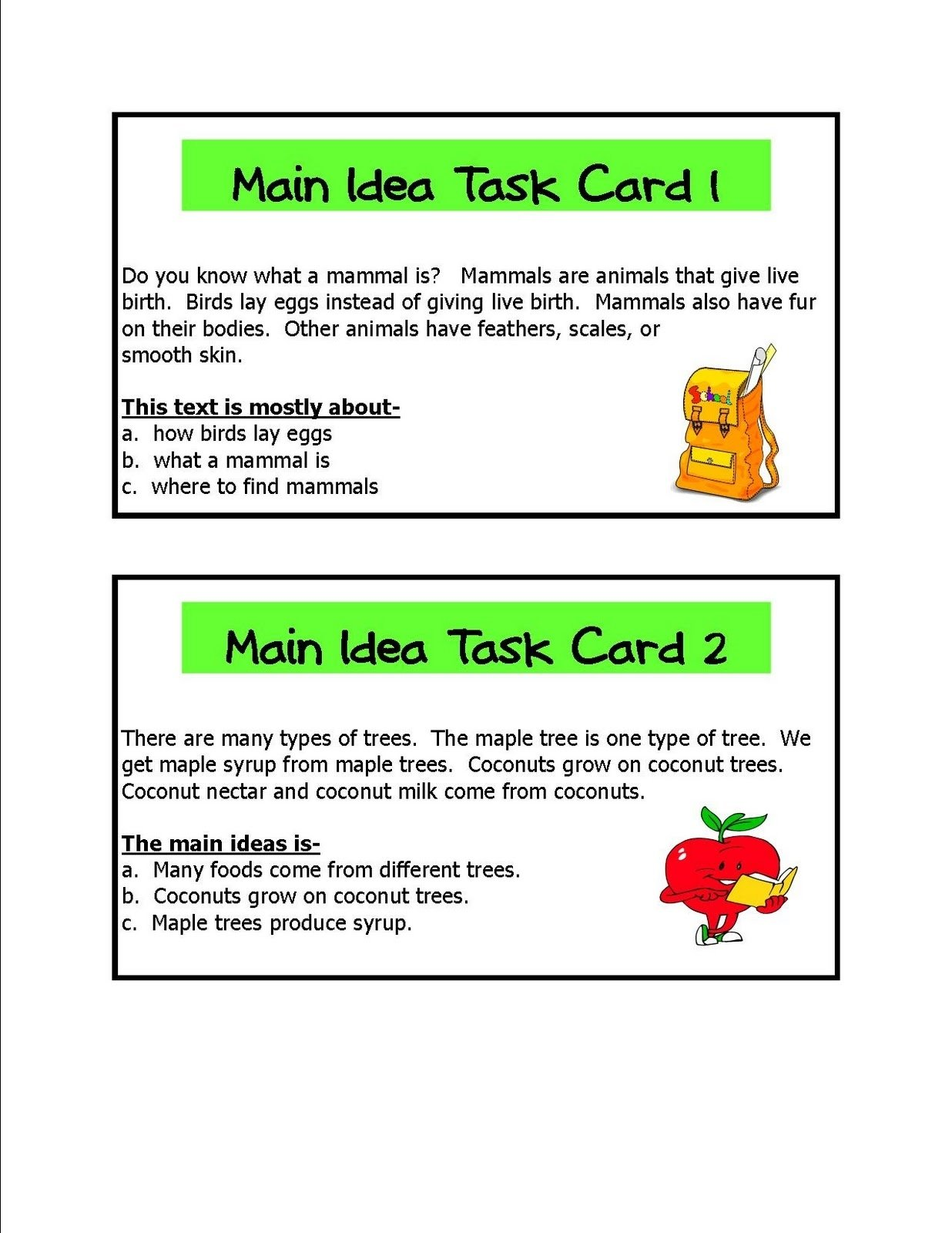 10 Attractive Main Idea Passages 2nd Grade