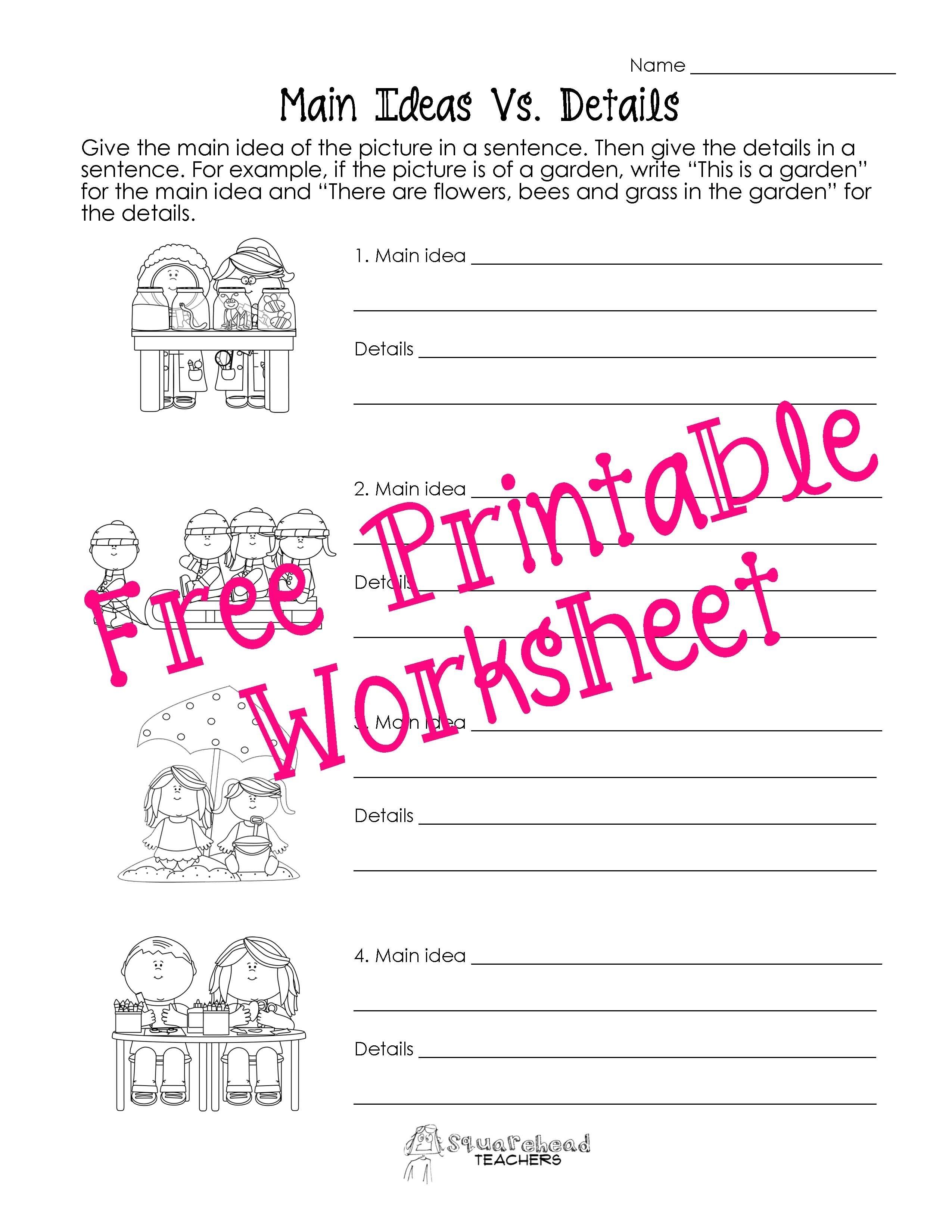 10 Unique Main Idea Worksheets 1st Grade