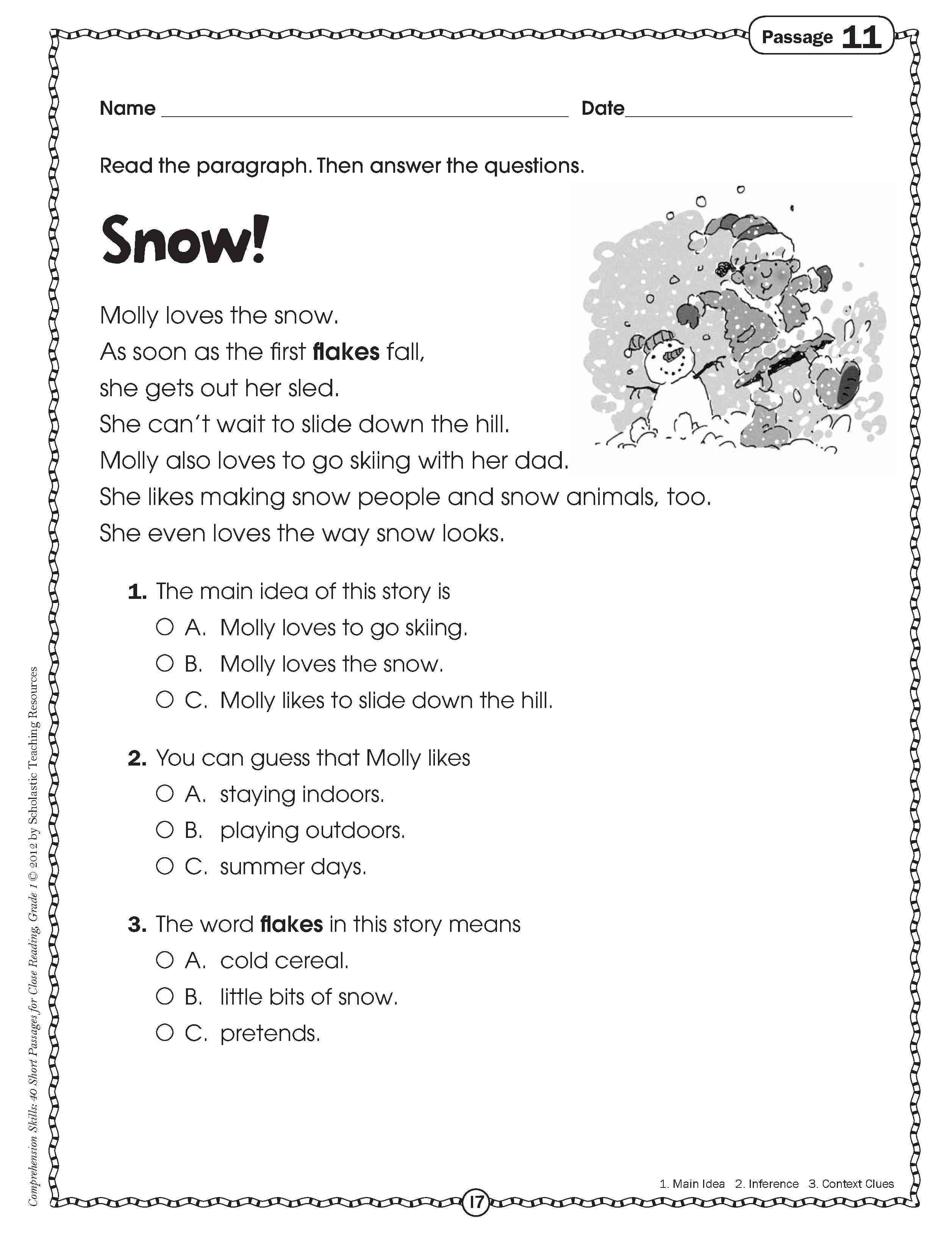10 Attractive First Grade Main Idea Worksheets