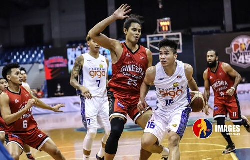Basketball players playing in a PBA game