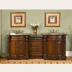 84 Inch Large Cherry Double Sink Bath Vanity With Granite