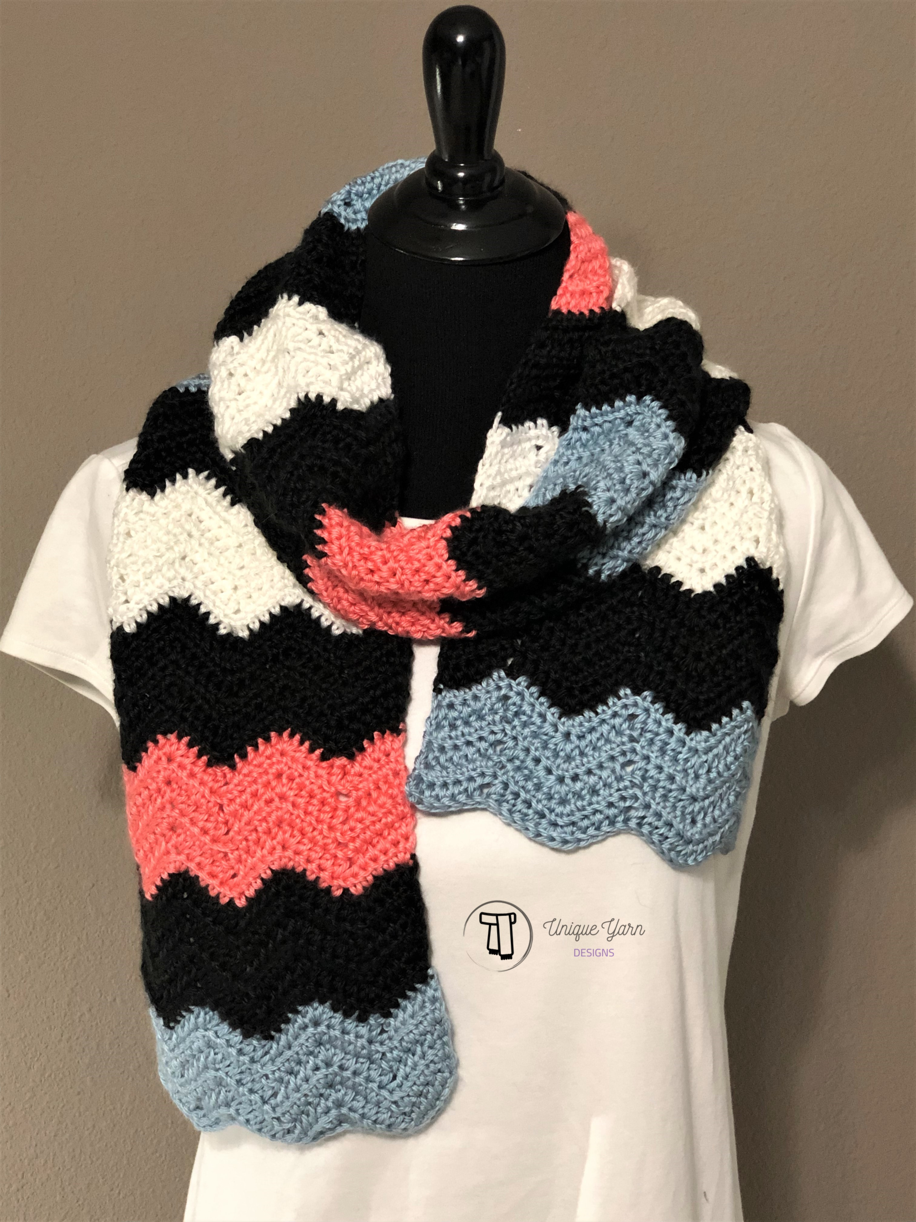 Soft Ripple Chevron Scarf Crochet Pattern
