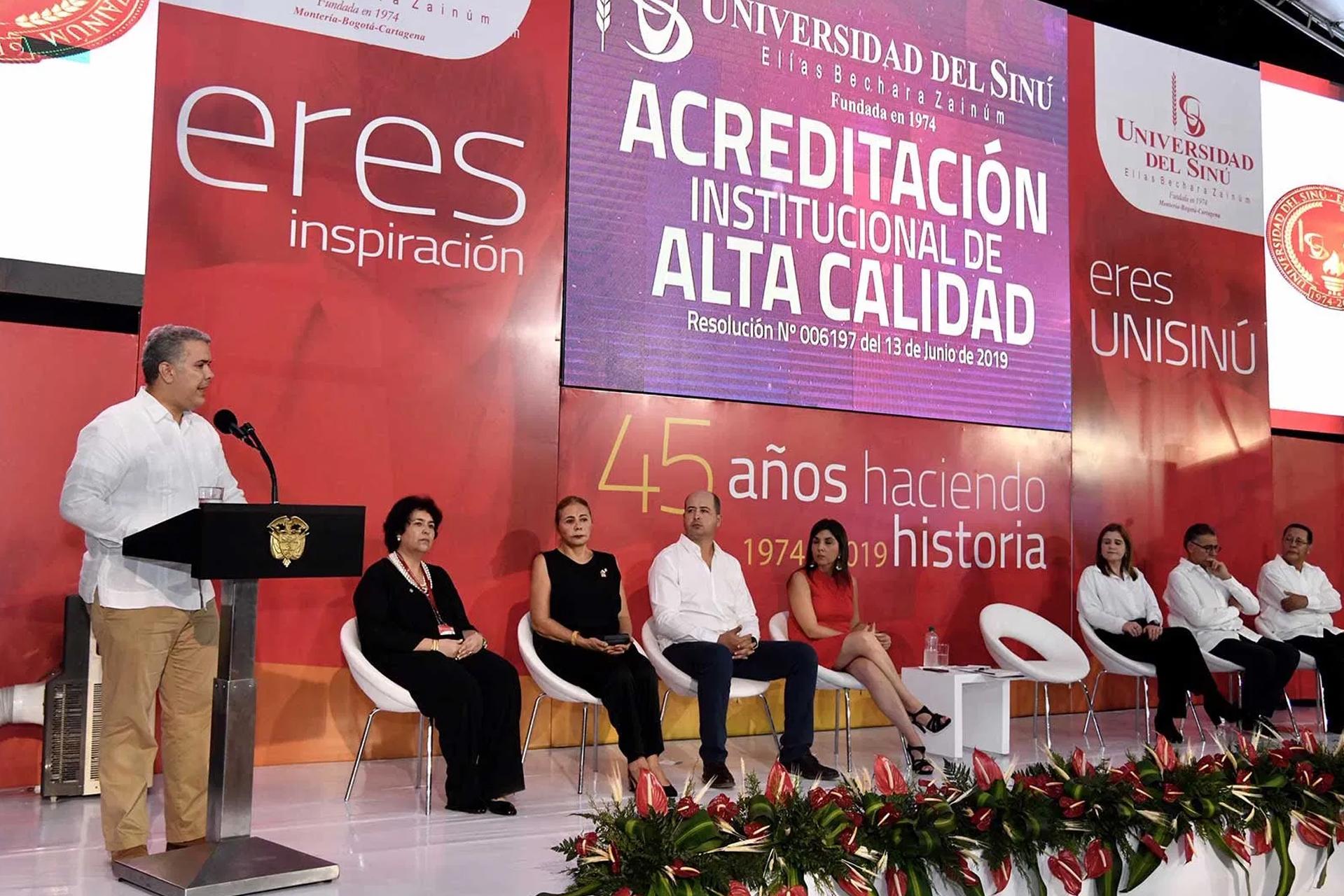 En la celebración de los 45 años de la Universidad del Sinú, el Presidente Duque oficializó la acreditación de Alta Calidad a esta institución educativa