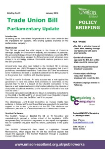 Briefing 073 Policy: Trade Union Bill Update - Jan 2016