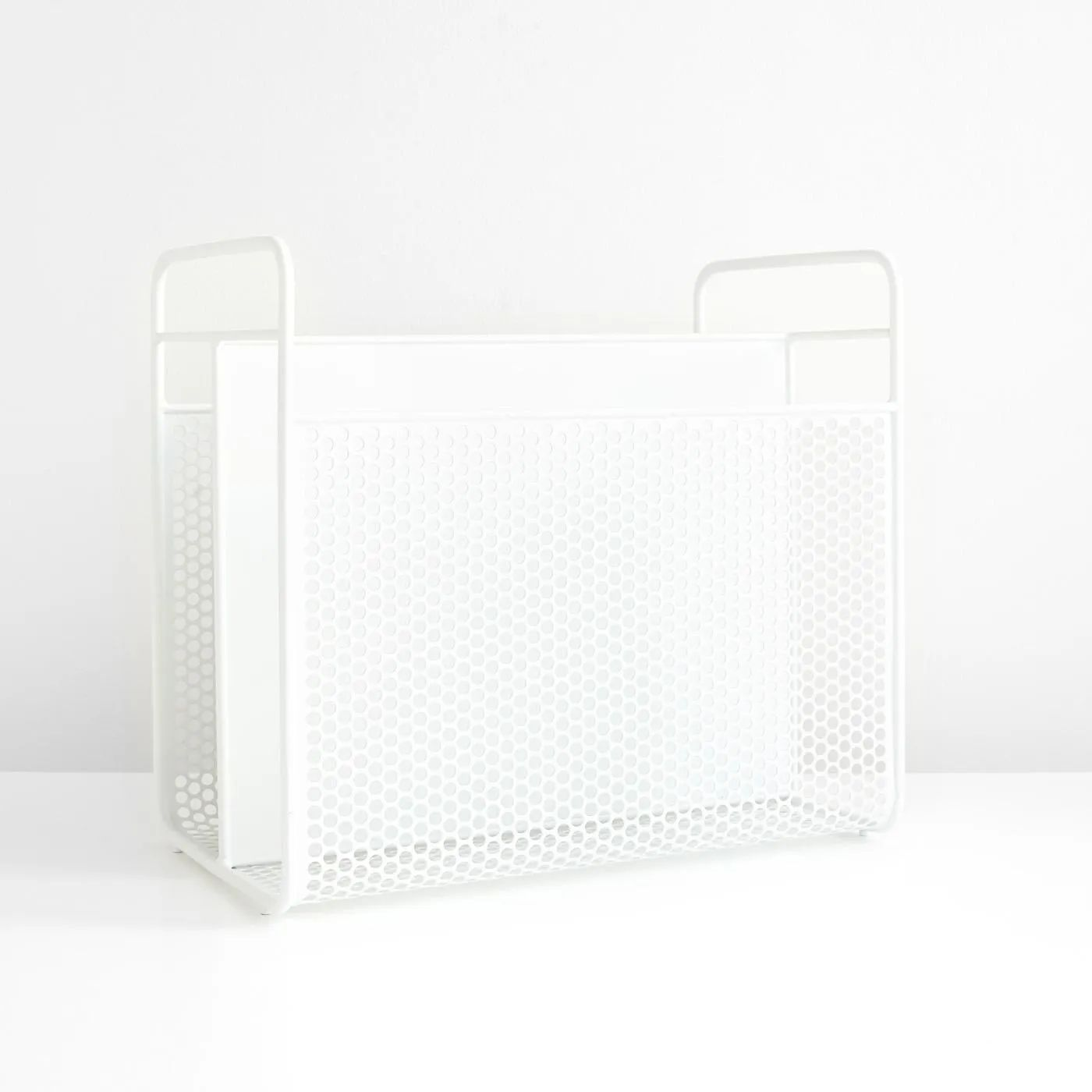 analog white magazine rack