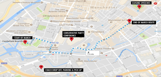 Route of #ToriesOut March - Sunday 1st October