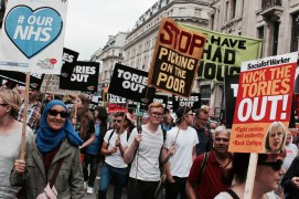 Not One Day More protest march from BBC Broadcasting House in Portland Place to Parliament Square, 1st July 2017.
