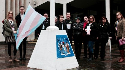 Group photograph of Transpire and UNISON Southend-on-Sea members raising the transgender flag at Transgender Day of Remembrance event at Southend-on-Sea Borough Council.