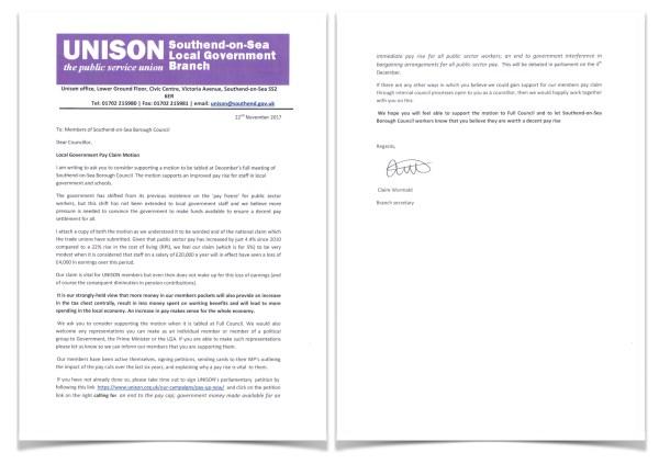 Scan of letter to councillors asking them to support a motion on fair pay at the full meeting of Southend Borough Council.