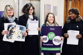 Photograph of UNISON Southend-on-Sea members at Fair Pay Now! Lobby before the full meeting of Southend-on-Sea Borough Council on Thursday 14th December.