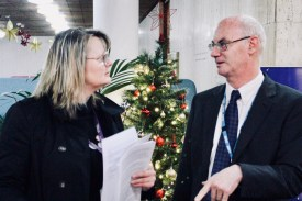 Photograph of Claire Wormald (Branch Secretary) and Councillor Kevin Robinson discuss fair pay motion before the full meeting fo Southend-on-Sea Borough Council on Thursday 14th December