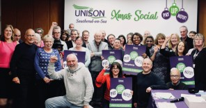 Photograph of UNISON Southend-on-Sea members at Xmas social 2017.